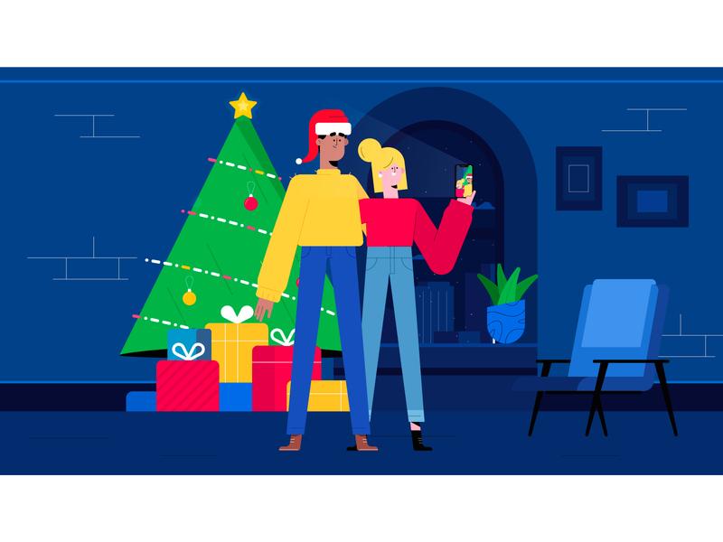 Selfie at Christmas christmas minimal characters illustration character
