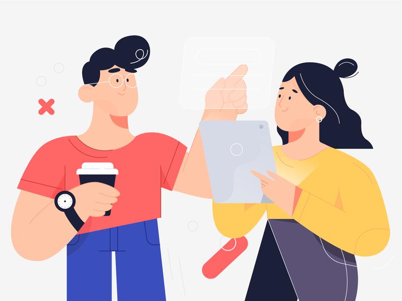 Characters working ipad motion dribbble animation design minimal characters illustration character