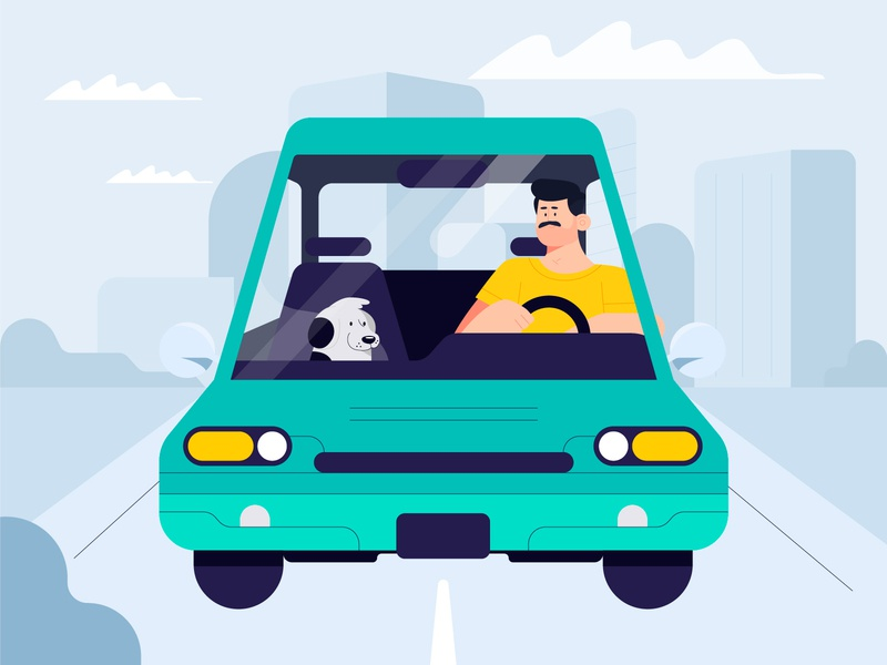On the way home pet aftereffects flat city roadway car dog dribbble design characters illustration character