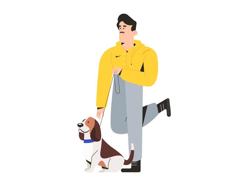 Walking the dog running dog dribbble design minimal characters illustration character