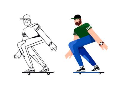 Character skate character sketch illustration draw skate