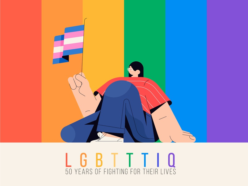 Stonewall: 50 years of fighting for their lives pride lgbt dribbble design minimal characters illustration character