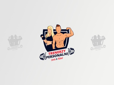 Trenerzy Personalni - Daria & Michał biceps logo design branding girl man strong gym fit body fit muscular personal trainer brand design logotype design logo logo design logo vector illustration design branding