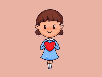 Little Girl t-shirt print dress blue love hearth girl procreate art procreate app raster ipadpro ipad procreate artwork art