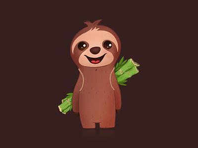 Sloth with bamboo art design clothes t-shirt design smile bamboo procreate art procreate ipadpro ipad pro ipad artwork art sloths sloth