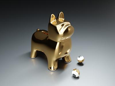French Bulldog 3D gold 3d pet eyes graphic blender 3d blender animal dog artwork illustration art design graphic design french bulldog bulldog french