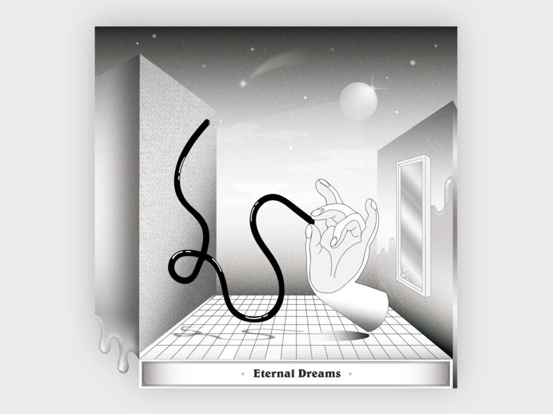 Eternal Dreams dreams black and white mudra hand poster abstract vector illustraion artwork