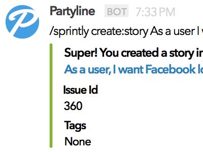 Partyline Slack Messages integrations slack