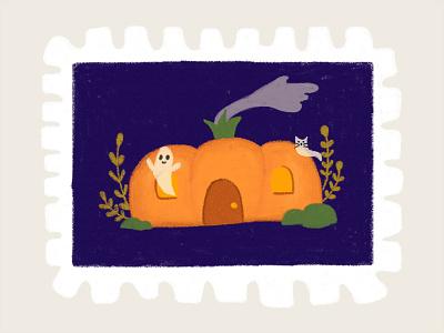 Day 1 prompt: Home ghost pumpkin peachtober20 inkoctober20 digitalart art illustration