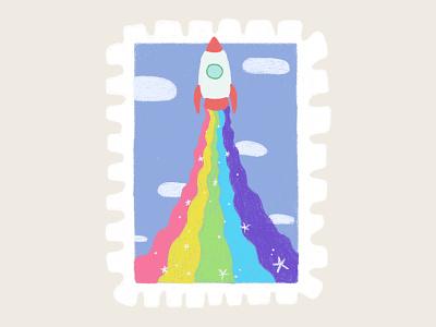 Day 9 promt: rainbow rainbow rocket stamp peachtober20 inkoctober20 digitalart art illustration