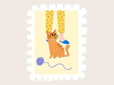 Day 10 prompt: Pet pet cat stamp peachtober20 inkoctober20 digitalart art illustration