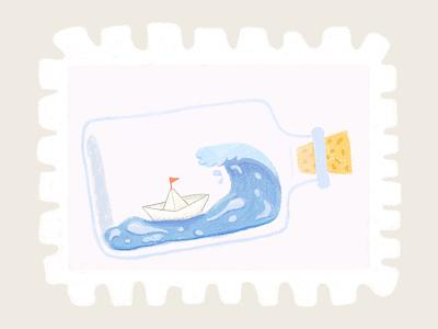 Day 12 prompt: Foam foam boat stamp peachtober20 inkoctober20 digitalart art illustration