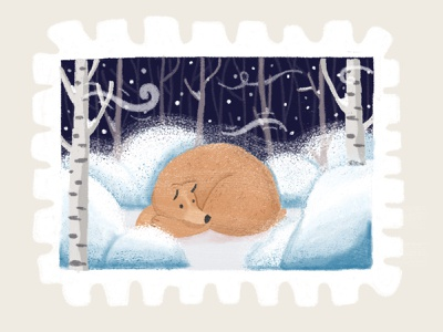 Day 19 prompt: Cool cool winter bear stamp peachtober20 inkoctober20 digitalart art illustration