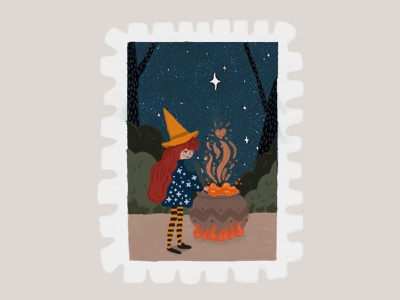 Days 25- 26 prompt: Burn & Hat wizard burn hat witch stamp peachtober20 inkoctober20 digitalart art illustration