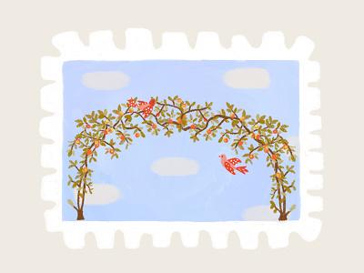 Day 27 prompt: Orchard birds apple orchard stamp peachtober20 inkoctober20 digitalart art illustration