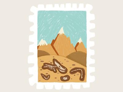Day 29 prompt: Fossil digitalillustration fossil stamp peachtober20 inkoctober20 digitalart art illustration
