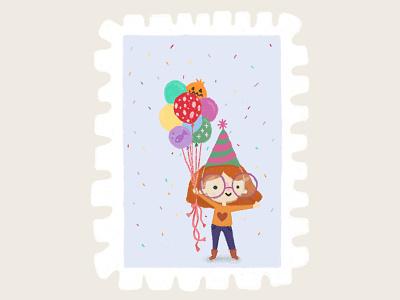 Day 30 prompt: Balloon balloons girlbirthday happy birthday digitalillustration peachtober20 inkoctober20 digitalart art illustration
