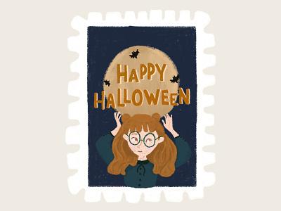 Day 31 prompt:  Moon happyhalloween moon stamp peachtober20 inkoctober20 digitalart art illustration