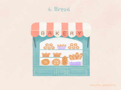 6/100 Bread storefront store bread digitalillustration artist 100thingstodraw drawingchallenge art digitalart illustration digital illustration art illustration bakeryillustration bakery