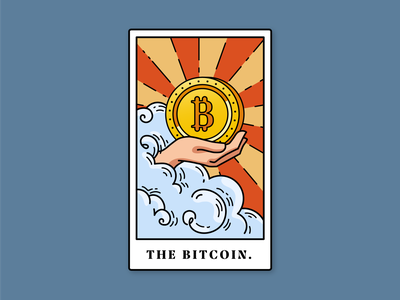 'The Bitcoin' Tarot Card flat design vector illustration