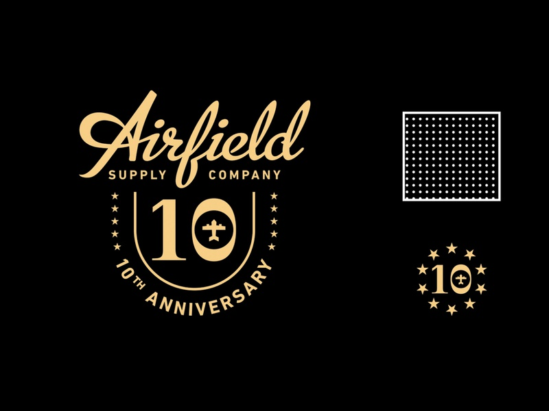 Airfield 10th Anniversary logo vector logo typography lettering design illustration type