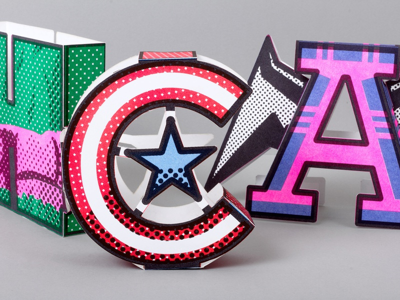 Superhero Caps paper toys typography design illustration type