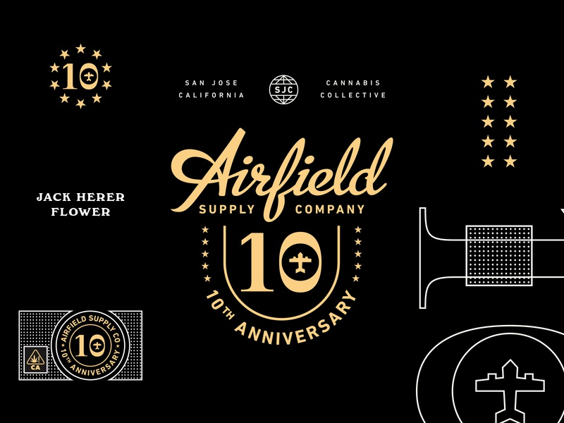 Airfield Supply Co. 10yr vector branding typography lettering design illustration type