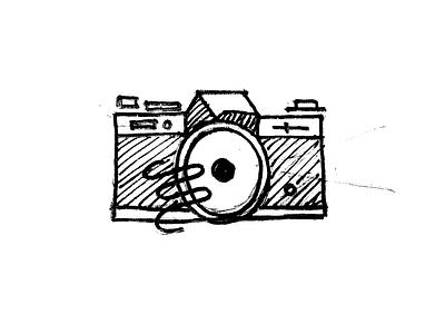 Camera handdrawn gesture pencil ink sketch camera illustration