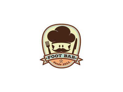 Footbar mustache chef football retro food bar