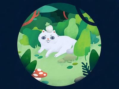 Garden silly mushroom wise bush trees hidden feline natureboy toadstool forest radish green garden kitten cat design