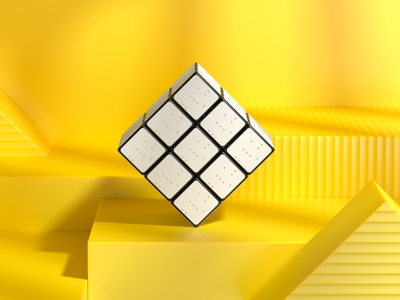 Braillecube museum moma endles colorful impaired animation rubikscube coronarenderer rendering toy braillecube
