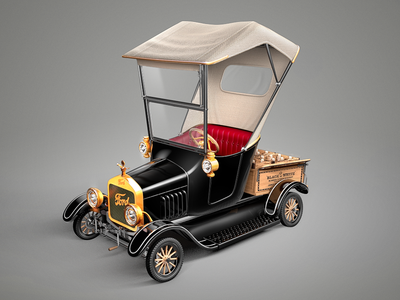 Ford Model T - Comic rendering 3d ford model comic car whiskey whisky cute