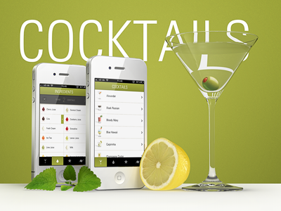 thecocktailapp.com cocktail app iphone white martini green