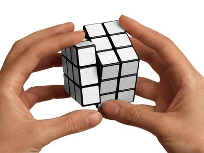 Rubiks Cube for blind people handicapped blind white design industrial 3d cube rubiks