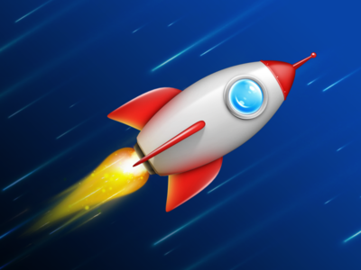Small Rocket universe design children game funny colors logo rendering icon rocket 3d