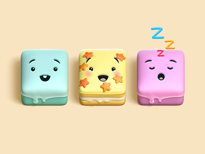 Cake Characters kawaii colorful cute 3d game character cake