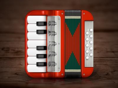 Accordion iOS Icon accordion akkordeon ios icon iphone ui red music