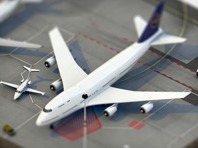 Tiny Airport Scene Teaser airport plane airbus lufthansa dof blur small rendering tiny cuuuuuuuuuuute