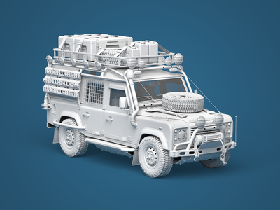 Land Rover Defender 4x4 jungle jeep high-poly details 4wd camper offroad rendering 3d land rover car
