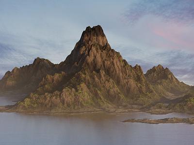 Procedural Landscape Model mountain island moss rock fog render 3d modeling modeling blender 3d art 3d product design landscape procedural