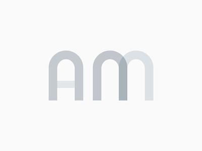 AM Logomark Concept logo design logodesign logotype logomark curves soft grey multiply design wordmark logo wordmark minimal geometric shapes logo am am a logo branding flat