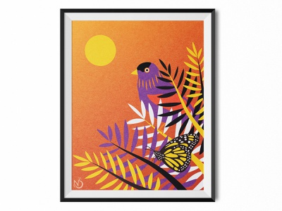 Sunset Friends digital art digital drawing graphic design bird butterfly vectorart vector photoshop illustrator drawing illustration color