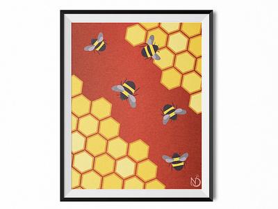 The Bees Knees adobe honeycomb bees nature design nature art graphic design digital drawing digital art vectorart vector color photoshop illustrator drawing illustration