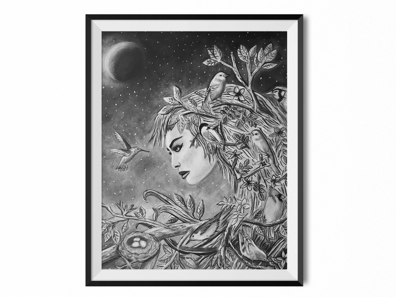 Mother Nature moon tree blending charcoal mother nature birds nature art illustrator drawing illustration color