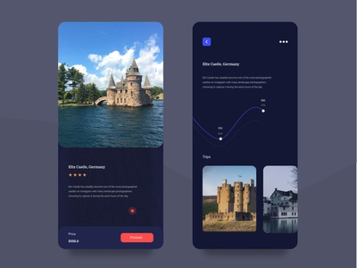 Castle UI Exploration travel mobile app dark minimal clean creative color user experience daily ui dailyui holiday trip castle user interface design thinking ui graphic design typography design