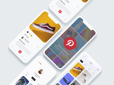 Pinterest Redesign Challenge redesign concept interface element material mobile daily ui dailyui app user interface pinterest color freebie minimal clean uiux ui dribbblers typography design