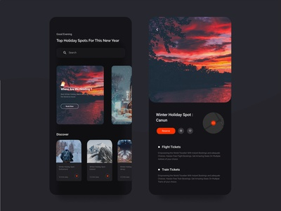 Holiday Trip App playoff challenge dark clean rebound mobile app dailyui trends holiday dribbbleweeklywarmup creative user interface minimal uiux color dribbblers typography graphic design design