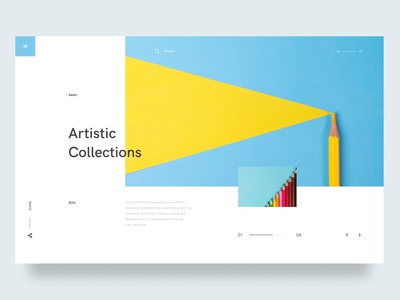Artistic Collections web website layout grid concept ui design interface flat type iconography ui-ux whitespace creative digital art design thinking color minimal uiux typography design