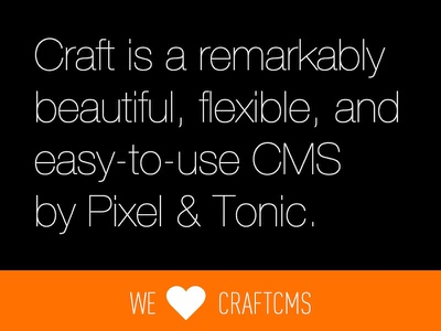 We ♥ CraftCMS craftcms cms orange black din type expression engine eecms