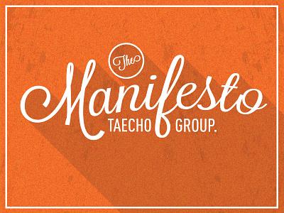 Taecho Manifesto taecho manifesto tag orange white writing brand